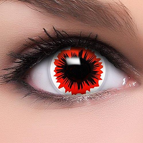 Farbige Kontaktlinsen 'Virus' in schwarz & rot & weiß, weich ohne Stärke, 2er Pack inkl. Behälter und 10ml Kombilösung - Top-Markenqualität, angenehm zu tragen und perfekt zu Halloween oder (Kostüm Ghost Cat Big)