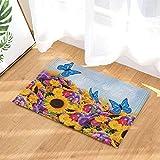 cdhbh Nature Scenery Decor blau Schmetterling fliegt über die Blumen und Sonnenblumen Bad Teppiche rutschhemmend Fußmatte Boden Eingänge Innen vorne Fußmatte Kinder Badematte 39,9x 59,9cm Badezimmer Zubehör