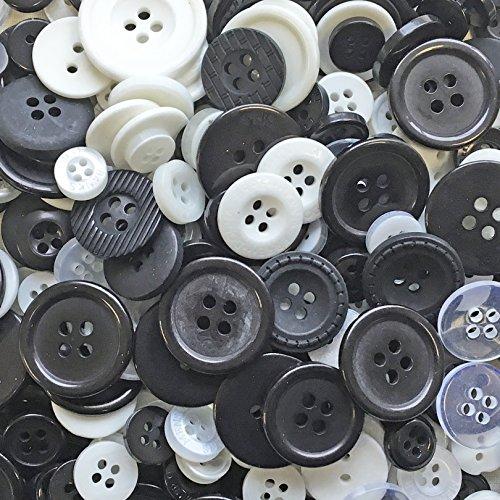 Schwarze und weiße Knöpfe, 100Gramm, Beutel mit gemischten Knöpfen aus Acryl und Harz, für Karten und Verzierungen (Verzierungen Und Weißen Schwarzen)