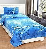 #7: Nakoda Creation 140 TC Polycotton Single Bedsheet Set with 1 Pillow Cover - Classic, Blue