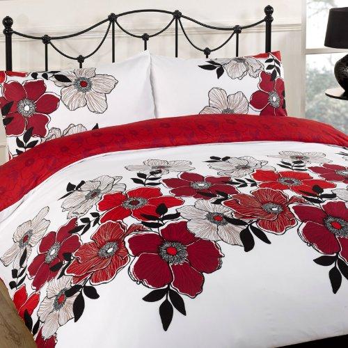 Pollyanna Rot Bettwäsche Set-Single, Double, King-Size Größe: Super King Size, 100 % Polyester, Pollyanna Floral, Kingsize (Rot Bettwäsche Set King)