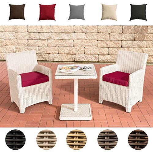 CLP Poly-Rattan Balkon-Sitzgruppe CARUSO, 5mm Geflecht RUND, ALU Gestell (2 x Stuhl St. Augustin + Tisch 60 x 60 cm) Rattanfarbe: Perlweiß, Bezugfarbe: Rubinrot