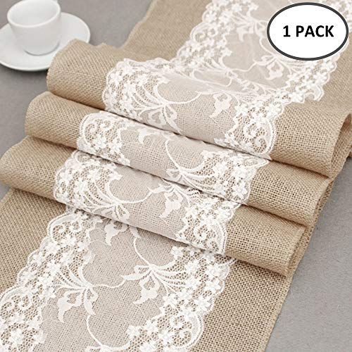 Jute Tischläufer mit Spitze 30 cm breit Sackleinen Vintage Tischband für rustikale Hochzeit Fest Party Feier Bevorzugte Dekorationen (Party Dekorationen Vintage)