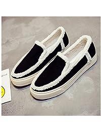 Zapatos de moda de invierno Loafer Girls Plus Cashmere Low Top Zapatos acogedores cálidos Talón plano ( Color : Black , Size : 40 )