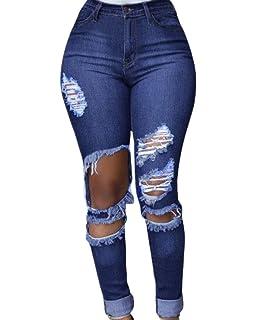 fb94a0d56004 ShiFan Jean Déchiré Femme Push Up Legging Troué Genoux Denim Pantalon  Elastique Décontracté