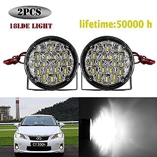 ONEVER 2 St¨¹ck Universal Car Runde 18-LED-Tagfahrleuchte Nebel-Lampe DRL K¨¹hles Wei? 12V