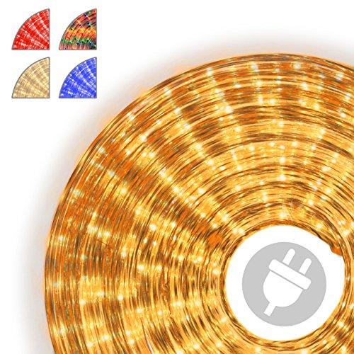 Nipach GmbH 10m Microlichter Lichterschlauch Lichtschlauch gelb - Innen- und Außenbereich - Licht-Dekoration für Garten Fest Weihnachten Hochzeit Gesamtlänge ca. 11,50 m Gelbe 10