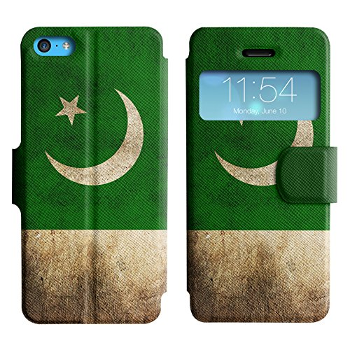 Graphic4You Vintage Uralt Flagge Von Hong Kong Flag Design Leder Schützende Display-Klappe Brieftasche Hülle Case Tasche Schutzhülle für Apple iPhone 5C Pakistan Pakistanisch