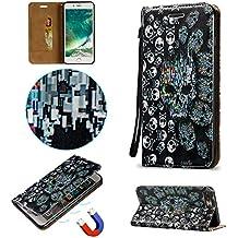 Coque Etui pour iphone 7 Plus, Cozy Hut [3D Crystal Coeur Imprimé] Housse Etui à Rabat de Protection en Cuir Véritable pour iphone 7 Plus (5,5 Pouces), Style de Portefeuille avec Porte-cartes, Fermeture Magnétique et Fonction Support - crâne