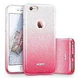 ESR iPhone 6 / 6S Hülle (4,7 Zoll), Glitzer Schutzhülle [Weiche TPU Abdeckung + Glitzer Papier + PC innere Schicht] [DREI in Einem] Hülle für iPhone 6/7S (Farbverlauf Pink)