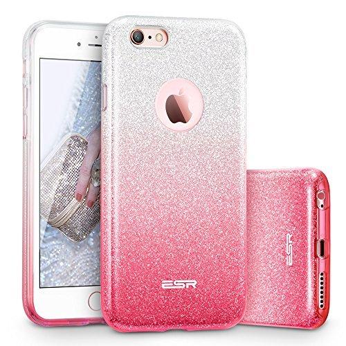 Esr iphone 6/6s cover con brillantini/glitters, custodia brillante lucciante luminosa [elastica e morbida] per apple iphone 6/6s 4.7 pollici (argento/rosa)