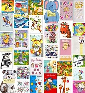 Bulk Children's Kids Pack of 30 Birthday Greeting Cards