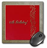 3dRose LLC 8 x 8 x 0.25 Inches Mouse Pad, 65th Birthday Red and Gold Design (mp_33002_1)