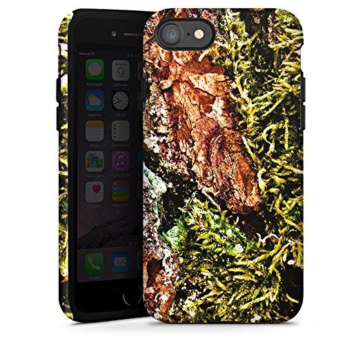 Apple iPhone X Silikon Hülle Case Schutzhülle Rinde Holz moos Tough Case glänzend