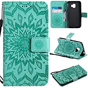 Galaxy J2 Plus 2018 Hülle, Thrion Lederhülle Handyhülle mit [Frei Schutzfolie], Premium PU Tasche Leder Flip Case Cover Schutzhülle für Samsung Galaxy J2 Plus 2018 – Grün