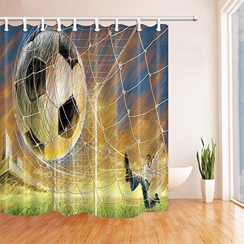 nyngei Gemälde Decor Boy Play Football Polyester-Schimmelresistent-Dusche für Badezimmer Vorhänge Duschvorhang Haken enthaltene 179,8x 179,8cm orange