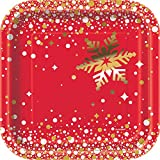 Unique Party Supplies 18 cm Eckig Folie Gold Sparkle Weihnachten Pappteller, 8 Stück