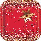 Unique Party Supplies 18cm Eckig Folie Gold Sparkle Weihnachten Pappteller, 8Stück