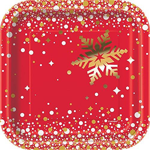 s 18cm eckig Folie Gold Sparkle Weihnachten Pappteller, 8Stück ()