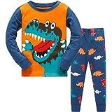 Conjunto de pijama para niña con diseño impreso de animales. Manga larga, para invierno, 2 piezas, regalo de Navidad