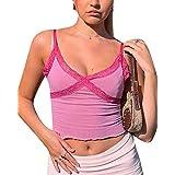 CheChury Y2K Crop Top Corto da Donna Canotta Sexy Ragazza Shirt Corto Elegante Senza Maniche Gilet Scollo a V Camicetta Casua