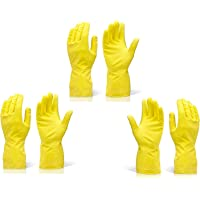 DeoDap Reusable Rubber Hand Gloves for Cleaning (Colour May Vary) - Pack of 3