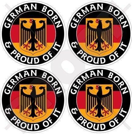 DEUTSCHLAND Deutsch Geboren und Stolz Deutschland 50mm Auto & Motorrad Aufkleber, x4 Vinyl Sticker