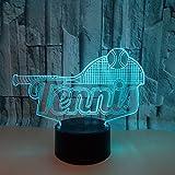 3D Illusion Lampe LED Nachtlicht Optische 3D Illusions Lampen Tischlampe Nachtlichter 7 Farben Berührungsschalter Schreibtischlampe Mit USB Kabel Kinder Nachtlampe, Tennis