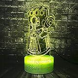 XDWC Nachtlicht Kinder Nachtlicht 3D Optische Täuschung 16 Farben Ändern Thanos Infinity Gauntlet Krieg Cosplay Superheld Avengers Raumlicht Flash Latex Handschuh Halloween Party Stimmung Lava Kid Ge