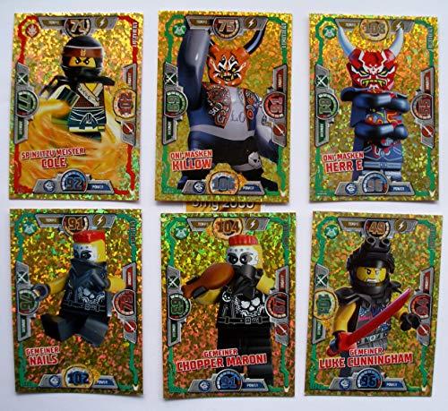 Lego Ninjago Serie 3 - 6 limitierte Gold Karten Trading Cards LE 4 Meister Cole, LE 18 Oni Masken Killow, LE 19 Oni Masken Herr E, LE 21 Gemeiner Nails, LE 22 Gemeiner Chopper Maroni, LE 23 Gemeiner Luke Cunningham + 1 bmg2000 Aufkleber 2 Ninjago Schutzhülle