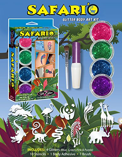 Safari'O Glitter Tattoo Set - Safari, Zoo und Dschungel Tier- ()