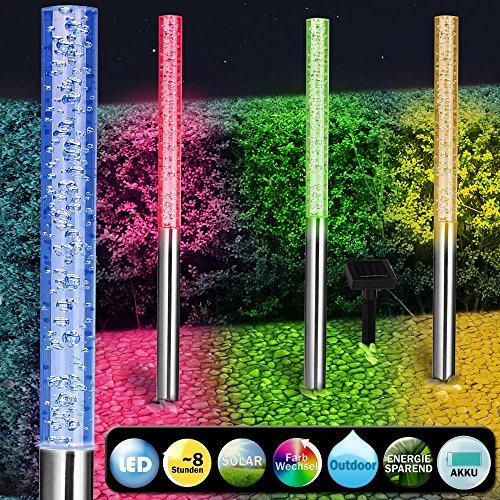 4x Edelstahl LED Solarlampe Gartenbeleuchtung Outdoor bunt Solar I 4 Steckleuchten I 8 Stunden Akku I Farbwechsel I 48cm