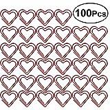 YEAHIBABY Herz Büroklammer,Zeichen Clips Lesezeichen Clips für Home Office Schule,100 stücke (Rot)