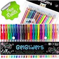 Gel Pens | 48 - 24 Colored Pens plus 24 Gel Ink Refills | Glitter, Neon and Pastel Styles | Coloring and Craft Pen Set for Adults and Kids Includes Brown, White, Gold and Silver | Handy Artist Case by Bellbird Creations