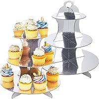 JINLE Lot de 2 présentoirs à gâteaux en carton Présentoir à gâteaux 3 étages Présentoir à muffins Argenté Support à…
