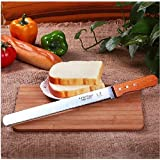 SMARTBUYER 10 Inch Top Grade Bread Knife Kitchen Bakery Tools Jagged Edge Knives With Wooden Handle Steel Cake Bread Sushi Cuter Knife Steel Baking Tool 10 Inch Bread Toast Cutter Spatula Pastry Cream Knife Blade Birthday Cake Tools Top Grade Bread Knife