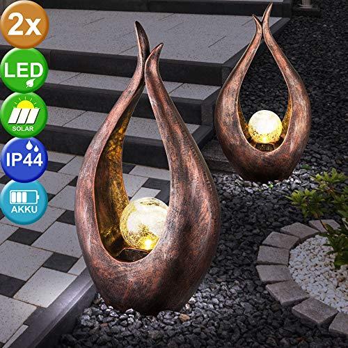 2er Set LED Außen Solar Steh Leuchten Glas Kugel Hof Strahler Bronze geschwungen