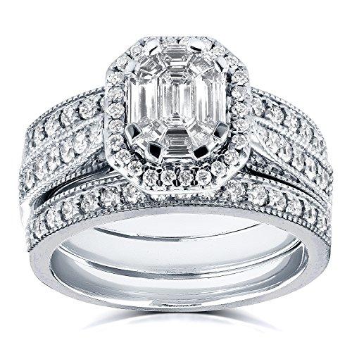 Art Deco taglio smeraldo diamante Halo Bridal Set 1Ctw in oro bianco 14K (3pezzi) _ 8.5
