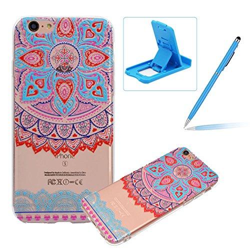 Herzzer Silicone Transparente Coque pour iPhone 6S, Ultra Mince Crystal Clear Flex Soft Skin Gel TPU Bumper Motif de Mandala Tribal Fleur Design Anti Rayure Antichoc Housse Étui de Protection pour iPhone 6/ iPhone 6S (4,7 Pouces)