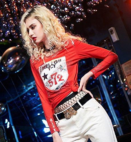 Ladies Manica Lunga Top Paillettes Stampa Maglietta Rotonda Slim Pullover Rosso