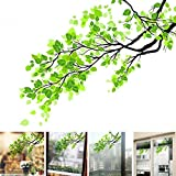 Green Leaf Branch Glass Sticker Plant Wall Decal Frosted Glass Film Semitranspat Sliding Door Window Film PVC Home Decor