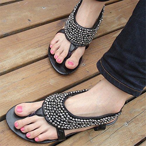 Fortunings JDS 2016 delle nuove donne di arrivo perline scarpe flip-flop sandali piani Nero
