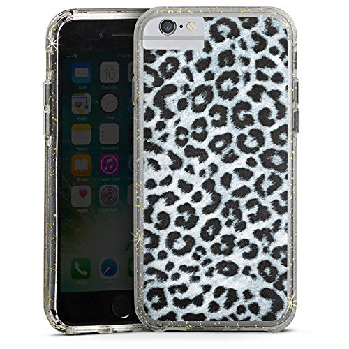 Apple iPhone 7 Plus Bumper Hülle Bumper Case Glitzer Hülle Leopard Fell Grau Animal Print Bumper Case Glitzer gold