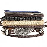 Mehrlagiges Unisex-Armband von Cosanter mit Design aus bezaubernden Perlen, Leder und Federn für Männer, Frauen, Damen, Mädchen, als Schmuck für Partie und Abschlussbälle, als Geburtstagsgeschenk