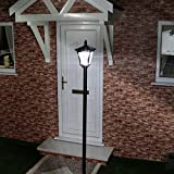 2.1m Large Outdoor Solar Powered Black Lamp Post by Festive Lights (White LED)