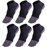 GINZIN Mens Cotton Toe Socks 6 Pairs Breathable Comfortable Sports Running Five Finger socks for Men