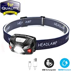 OUTERDO Stirnlampe LED, Mini Kopflampe USB Wiederaufladbar Sensor Kopfleuchte mit der Warnen- Rotlicht Wasserdichte Stirnleuchte für Arbeiten Camping Laufen Radfahren Wandern und Lesen