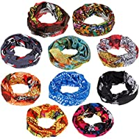 Zacro 10pcs Multifunctional Headbands Sport Headwear Bandanas Neck Warmer Elastic Seamless Magic Scarf Tube Mask with UV Resistance for Men Women, Suitable for Running, Riding, Climbing, Ski, etc