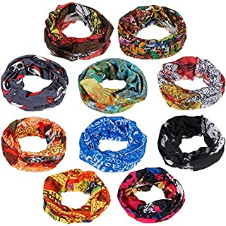 zacro 10pcs Multifunctional Headbands, Sport Headwear Bandana, Elastic Seamless Magic Scarf Tube Mask with UV Resistance for Men Women Unisex, Suitable for Running, Riding, Climbing, Yoga, etc