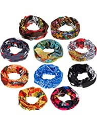 zacro 10pcs Multifunctional Headbands, Sport Headwear Bandana, Elastic Seamless Magic Scarf Tube Mask with UV Resistance for Men Women Unisex, Suitable for Running, Riding, Climbing, Yoga, etc